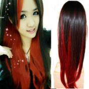 Black+Red Colour Womens Lady Sexy Straight Full Wigs Cosplay Party Long Hair