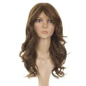 Long Wavy Human Hair Blend Wig | Side Swept Fringe | Nicole Scherzinger Hairstyle Wig | 2 shades