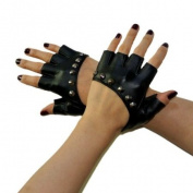 New Lady Gaga Sexy Diva Art Black Rivet Fingerless PU Leather Five Fingers Gloves