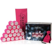 Sleep-in Rollers Gift Pack Includes 20 Glitter Rollers/ Drawstring Bag and Velour Pouch with Clips