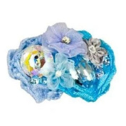Tarina Tarantino - Fashion Couture - Iconic Collection. Crystal Linen & Organza Flower Collage Hairclip - Blue #HC03S7-2
