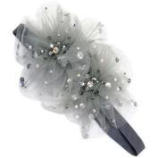Tarina Tarantino - Fashion Couture - Starchild Odyssey Collection. Crystal Paisley Peacock Tulle Flower Headband - Grey #HB01F8-1