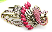 Lovely Vintage Jewellery Crystal Red Peacock Hair Clips - for hair clip Beauty Tools