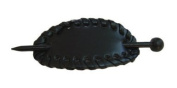 Oval Hair Pin with Edge Weaving - Black