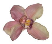 Cymbidium Orchid Artificial Flower Hair Clip/Pin Brooch, Cream Mauve