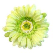 Gerbera Daisy Artificial Flower Hair Clip/Pin Brooch, Soft Green