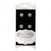 Rhinestone Cluster Hair Snaps - Silver / Clear - 4 pack