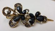 Gorgeous Vintage Jewellery Crystal Butterfly Fashion Hair Clips Hair Pins Hair Sticks - Large Size - Dark Grey Colour -For Hair Beauty Tools