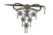 Handmade Purple Faux Leather Hair Barrette Wood Stick Pin