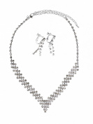 Birthday Prom Party Alloy Rhinestone Necklace Earrings Set