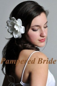 White Bridal Silk Flower Gardenia with Jewel Centre Hand Crafted