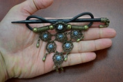 Handmade Grey Faux Leather Hair Barrette Wood Stick Pin