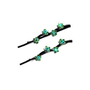 DoubleAccent Hair Jewellery Daisy Covered Bobby Pins in Crystal - Pair Green Colour