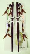 CUTE D.Brown Beads Dangly Hair Chop Sticks Chopsticks Picks Pierced Earrings Set