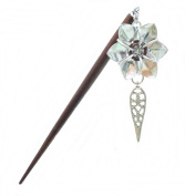 Six Inch Brown Wooden Hair Stick with Silver Flower and Teardrop Dangle