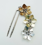 Antiqued Silver Hair Fork - Bronze, Gold, and Silver Flowers