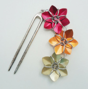 Antiqued Silver Hair Fork - Red, Orange, Yellow Flowers