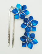 Antiqued Silver Hair Fork - Three Royal Blue Flowers