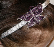 Headband with Butterfly #999a Handmade Using Glass Beads. Silver Beaded Background with Purple Butterfly