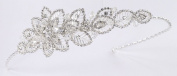 Elegant Bridal Tiara of Highly Stylized Tiny-Rhinestone Edged Metal Floral Design Embellished with Austrian Rhinestone and Wired Crystal Beads for Wedding, Prom, Quinceañera or Other Special Events #8H5J1sv