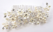 Delicate Bridal Comb Tiara of Enamelled Metal Flower and Wired Lustrous Faux Freshwater Pearls Adorned with. Rhinestones and Frosted Beads for Wedding, Prom, Quinceañera or Other Special Events #8FD8iv