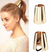 Punk Ponytail Holder Metal Opened Circle Cuff Golden Hair Band By U-Beauty