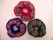 New Hair Scrunchies 3 Pack Handwoven Assorted Colours Fair Traded Peru
