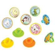 144 (1 Gross) ~ Dental Sticker Rings ~ Approx. 3.8cm ~ Plastic Ring with Attached Sticker ~ New ~ Dentist Prizes, Tooth Fairy