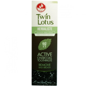 TWIN LOTUS ACTIVE CHARCOAL TOOTHPASTE HERBALISTE Triple Action 100G (3.52 OZ) x 1 tube