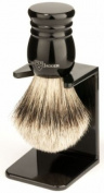 Edwin Jagger Super Badger Hair Handmade Imitation Ebony Large Shaving Brush with Drip Stand