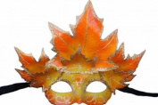 Classic Venetian Autumn Seasonal Leaf Design Laser Cut Masquerade Mask for Mardi Gras Events or Halloween - w/ Orange and Yellow Decorated Leaves