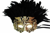 Classic Vintage Ancient Temple Priest Ruin Mask w/ Feathers Design Laser Cut Masquerade Mask for Mardi Gras Events or Halloween - Metallic Shade Colour