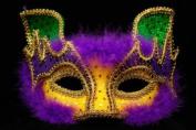 FOX Design Venetian Inspired Laser Cut Masquerade Mask, Elegantly Crafted- Purple Gold Green