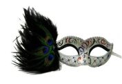 Intricately Decorated Pattern Swan Venetian Design Laser Cut Masquerade Mask, Attached w/ Vibrant Black And Green Coloured Peacock Feathers