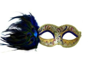 Intricately Decorated Pattern Swan Venetian Design Laser Cut Masquerade Mask, Attached w/ Vibrant Blue Coloured Peacock Feathers