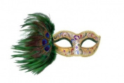 Intricately Decorated Pattern Swan Venetian Design Laser Cut Masquerade Mask, Attached w/ Vibrant Green Coloured Peacock Feathers