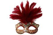 Intricately Detailed Pattern Swan Venetian Design Laser Cut Masquerade Mask, Attached w/ Vibrant Red Coloured Feathers