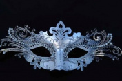 LASER CUT MARDI GRAS Silver Masquerade Mask