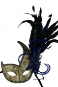 Laser Cut Venetian Halloween Masquerade Mask Costume Extravagant and Elegant Finely Detailed Women Gold Lining w/ Flower Inspired Design - Blue Flower