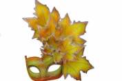 New Classic Venetian Autumn Seasonal Leaf Design Laser Cut Masquerade Mask for Mardi Gras Events or Halloween - w/ Vibrantly Decorated Side Yellow Leaves