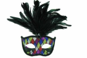 NEW Classic Venetian Elegant Swan w/ Peacock Feathers Design Laser Cut Masquerade Mask for Mardi Gras Events or Halloween - Chequered Pattern