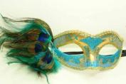NEW Classic Vintage Venetian Elegant Swan Design Laser Cut Masquerade Mask for Mardi Gras or Halloween - Sky Blue w/ Gold Lace