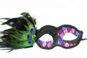 Peacock Inspired Venetian Inspired Laser Cut Masquerade Mask, Elegantly Crafted- Blue and Purple Chequered Pattern