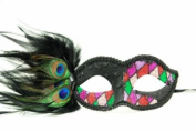 Peacock Inspired Venetian Inspired Laser Cut Masquerade Mask, Elegantly Crafted- Pink and Purple Chequered Pattern