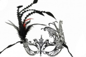 Vintage Classic Venetian Design Swan Style Laser Cut Masquerade Mask - Detailed and Decorated with Side Black and Red Feathers