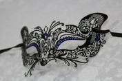 Gorgeous Feline Inspired Black Venetian Mardi Gras Masquerade Mask with Blue Diamond