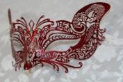 Gorgeous Feline Inspired Pink Venetian Mardi Gras Masquerade Mask with Diamond