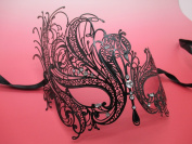 Black Swam Laser Cut Venetian Halloween Masquerade Mask Costume Inspire Design - Black w/ White Rhinestones