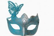 Magical Glitter Butterfly Edition Venetian Masquerade Mardi Gras Mask - Baby Blue