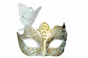 Magical Glitter Butterfly Edition Venetian Masquerade Mardi Gras Mask - White/Gold